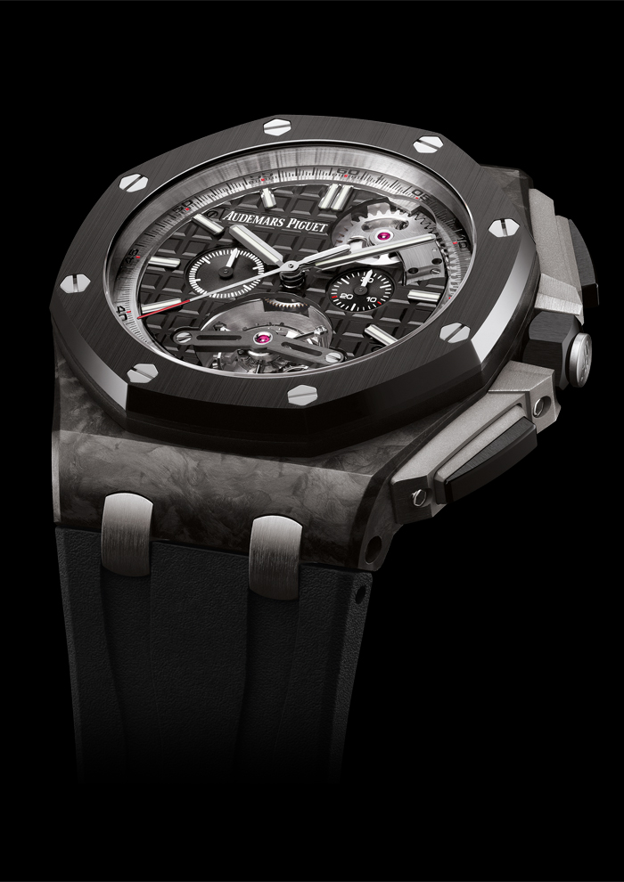 The watch case is made of  forged carbon fiber with ceramic accents.
