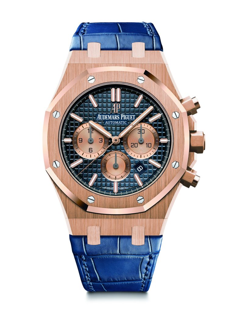 Royal Oak Chronograph in rose gold with stunning blue dial.