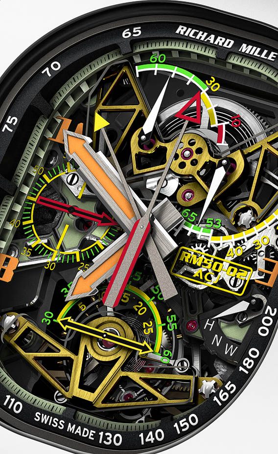 The RM50-02 is shaped like the ACJ plane windows and the bezel is made of a special alloy that is used on the propellers of the plane