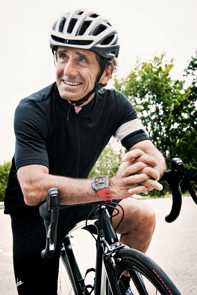 The Richard Mille RM 07-01 Tourbillon Alain Prost watch tracks distance ridden.