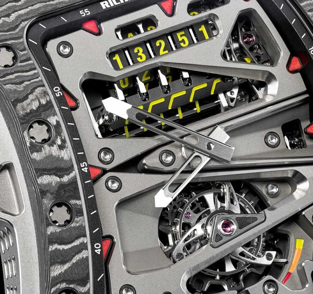 The Richard Mille RM 07-01 Tourbillon Alain Prost watch houses an odometer with five rollers.