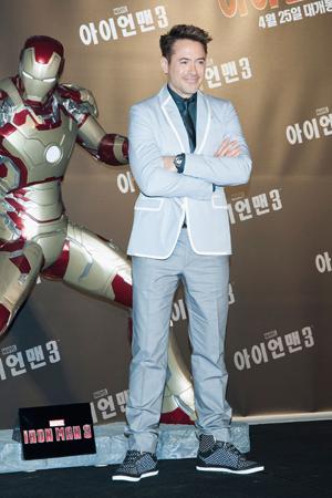 Robert Downey Jr. at Iron Man press conference