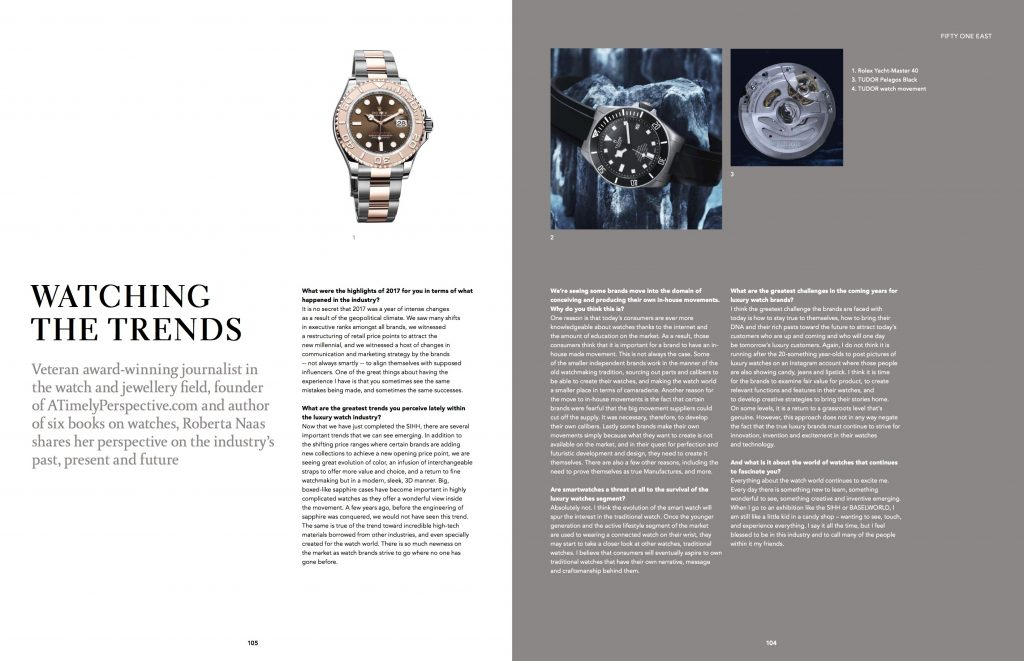 Fifty One East Magazine publishes interview with watch industry veteran journalist, Roberta Naas, who answers questions about trends, challenges and more.