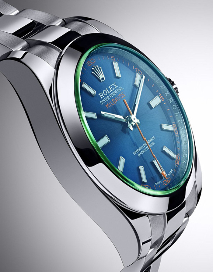 The new Milgauss features an amazing green sapphire crystal and blue dial.