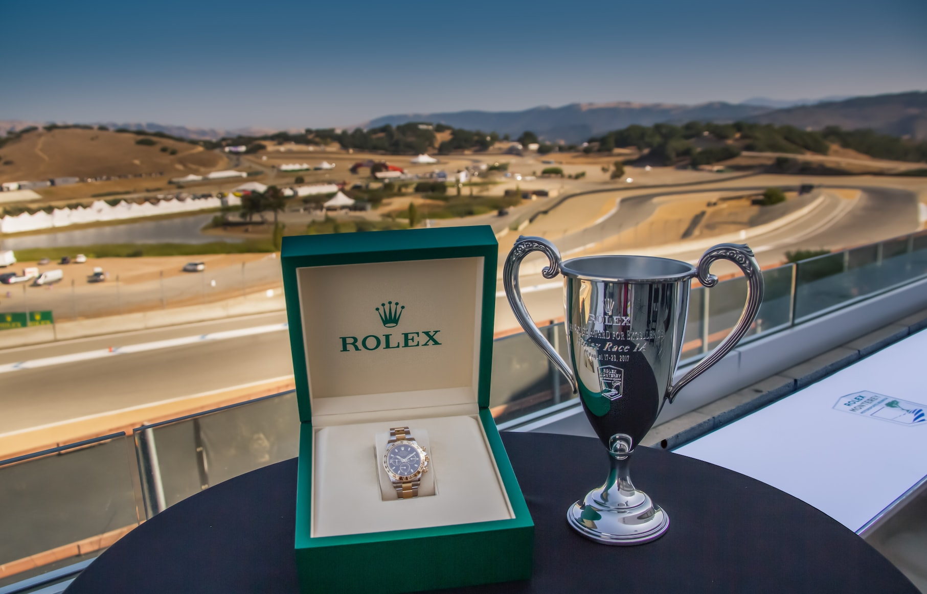 Rolex Trophy and watch given to winners at Rolex Monterey Motorsports Reunion