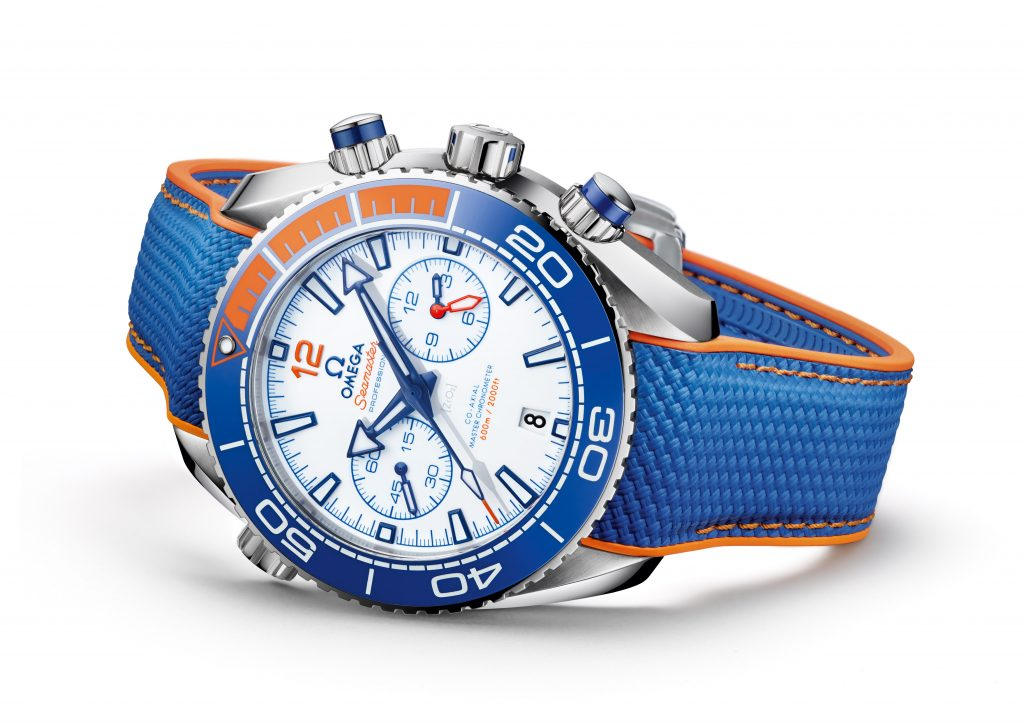 Omega Seamaster Planet Ocean Michael Phelps watch with distinctive dial and color combination.