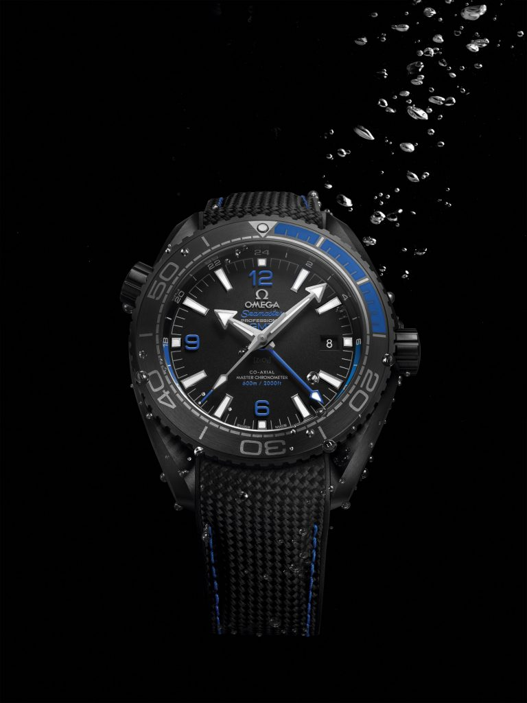 The Seamaster Planet Ocean Deep Black watches are water resistant to 600 meters (2000 feet)