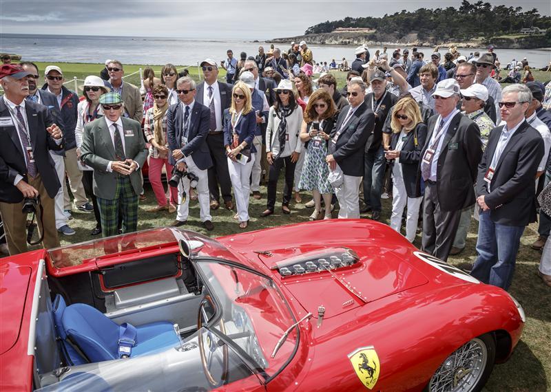 Jury inspecting Sir Jackie Stewart's 1967 Ferrari 256-GTB4 Coupe. Photo: Rolex, Tom O'Neal