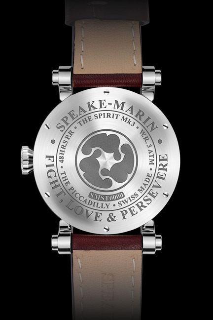 Engraved caseback of the titanium Spirit Wing Commander