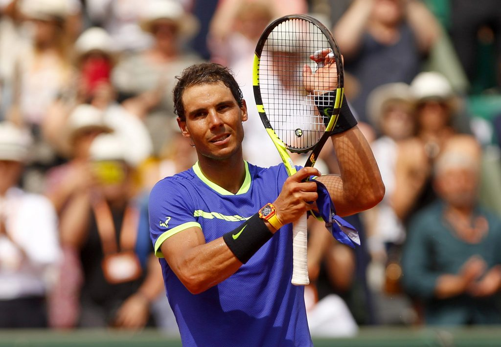 Rafael Nadal of Spain at the French Open Tennis is seen wearing his Richard Mille watch.