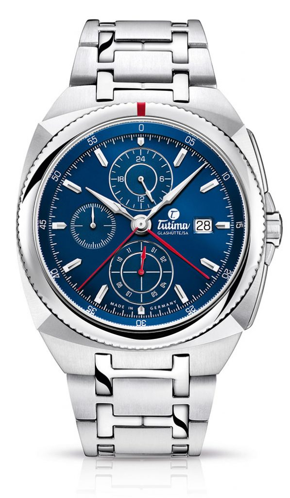 Tutima Saxon One Chronograph Royal Blue with center minutes hand.