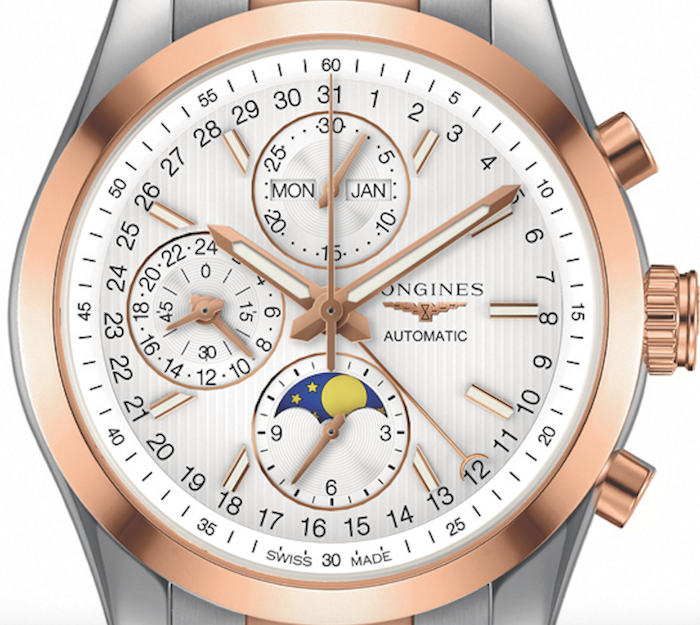 Close up of Longines' two-toned Conquest Classic Moonphase to be awarded to the owner of the Derby's winning horse.