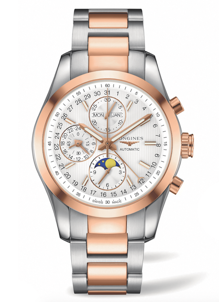 Two Tone 18K Rose Gold and Steel Conquest Classic Moonphase