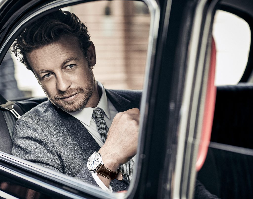 Longines' Ambassador of Elegance, Simon Baker, wearing the Master Annual Calendar.
