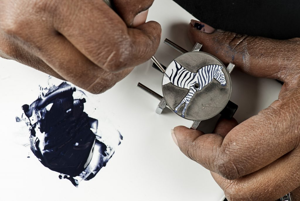 A close-up look at the Hermes Slim d'Hermes Zebres de Tanzanie watch