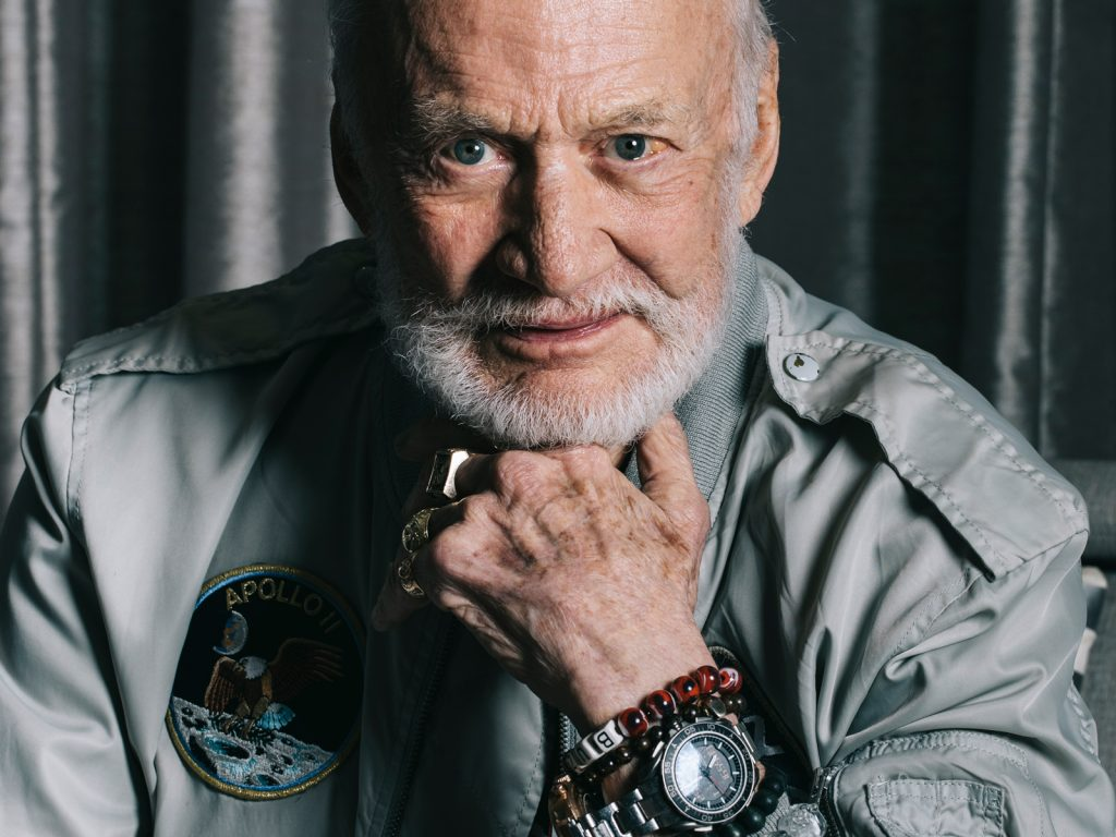 Astronaut Buzz Aldrin wore an Omega watch on the Moon in the historic moon landing of Apollo 11 in 1969. Today he stars alongside actor George Clooney in the Omega movie, Starmen.