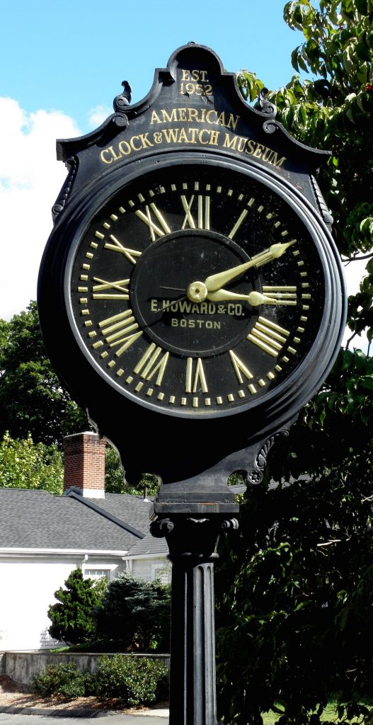 Street clock outside the American Watch & Clock Museum in Bristol,Ct.