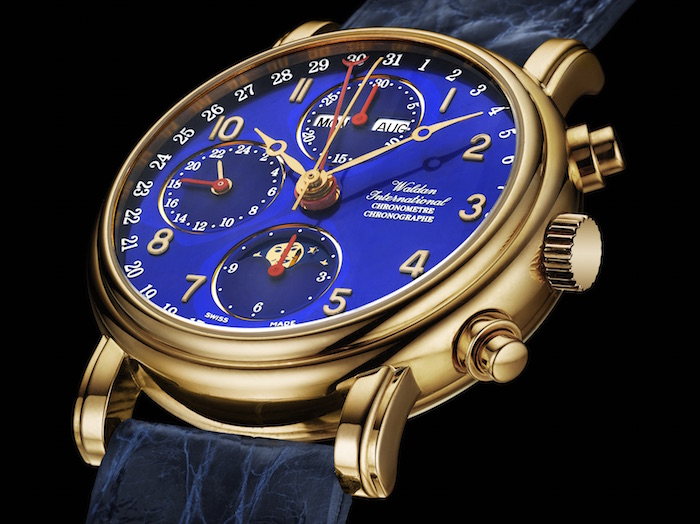 Waldan's Chronograph Chronometer with a unique blue dial and 18k Yellow Gold case