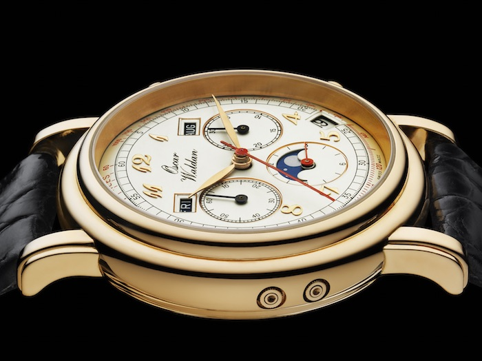 Waldan Watches' Astronic Chronograph with its 18K Yellow gold case and white dial.