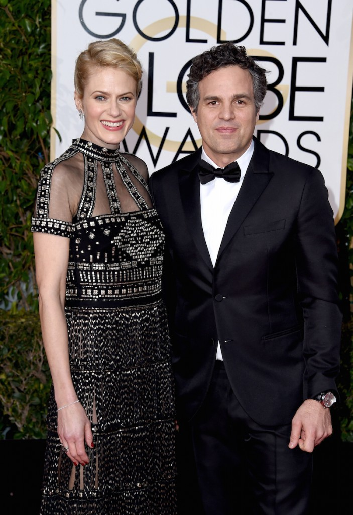 BEVERLY HILLS, CA - JANUARY 10: Actor Mark Ruffalo (R) and Sunrise Coigney attend the 73rd Annual Golden Globe Awards held at the Beverly Hilton Hotel on January 10, 2016 in Beverly Hills, California. (Photo by Steve Granitz/WireImage). Buffalo wore Montblanc