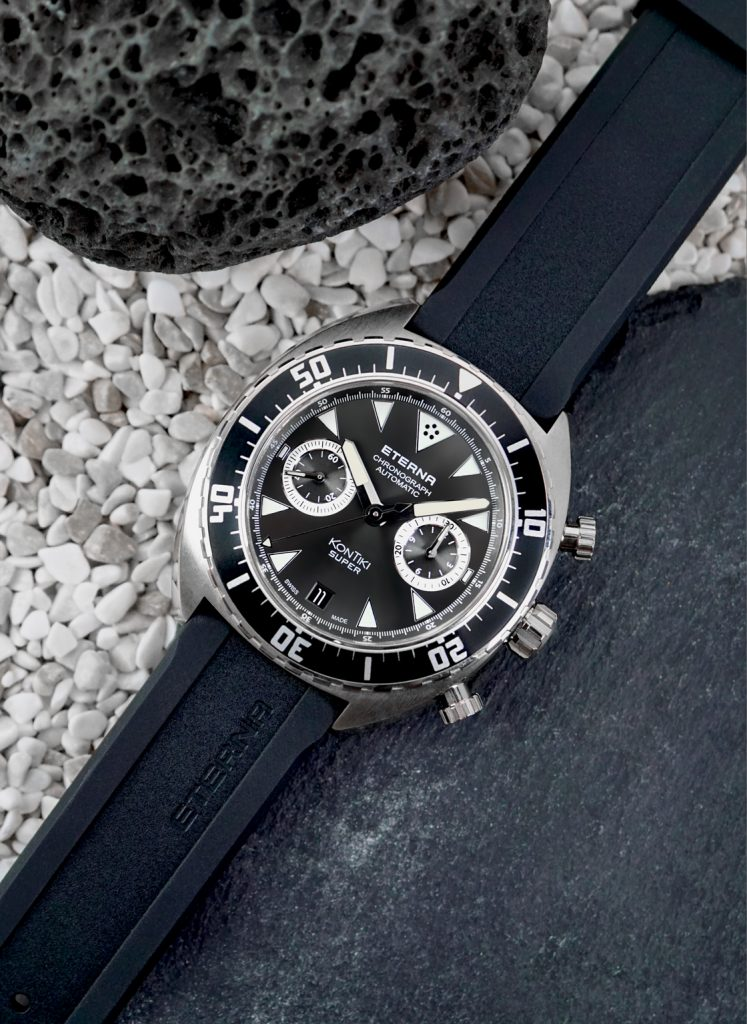 The Super KonTiki Chronograph house the Eterna 3916A flyback chronograph caliber.