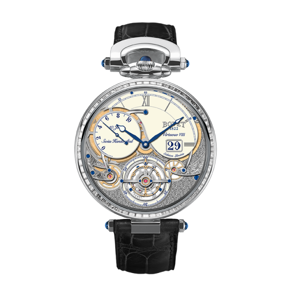 Bovet Virtuoso VIII is offered in 39 pieces in rose gold and 39 in white gold, platinum on request.