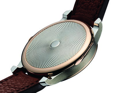 The half-hunter case back of the new FP Journe watch is created in guilloche silver.