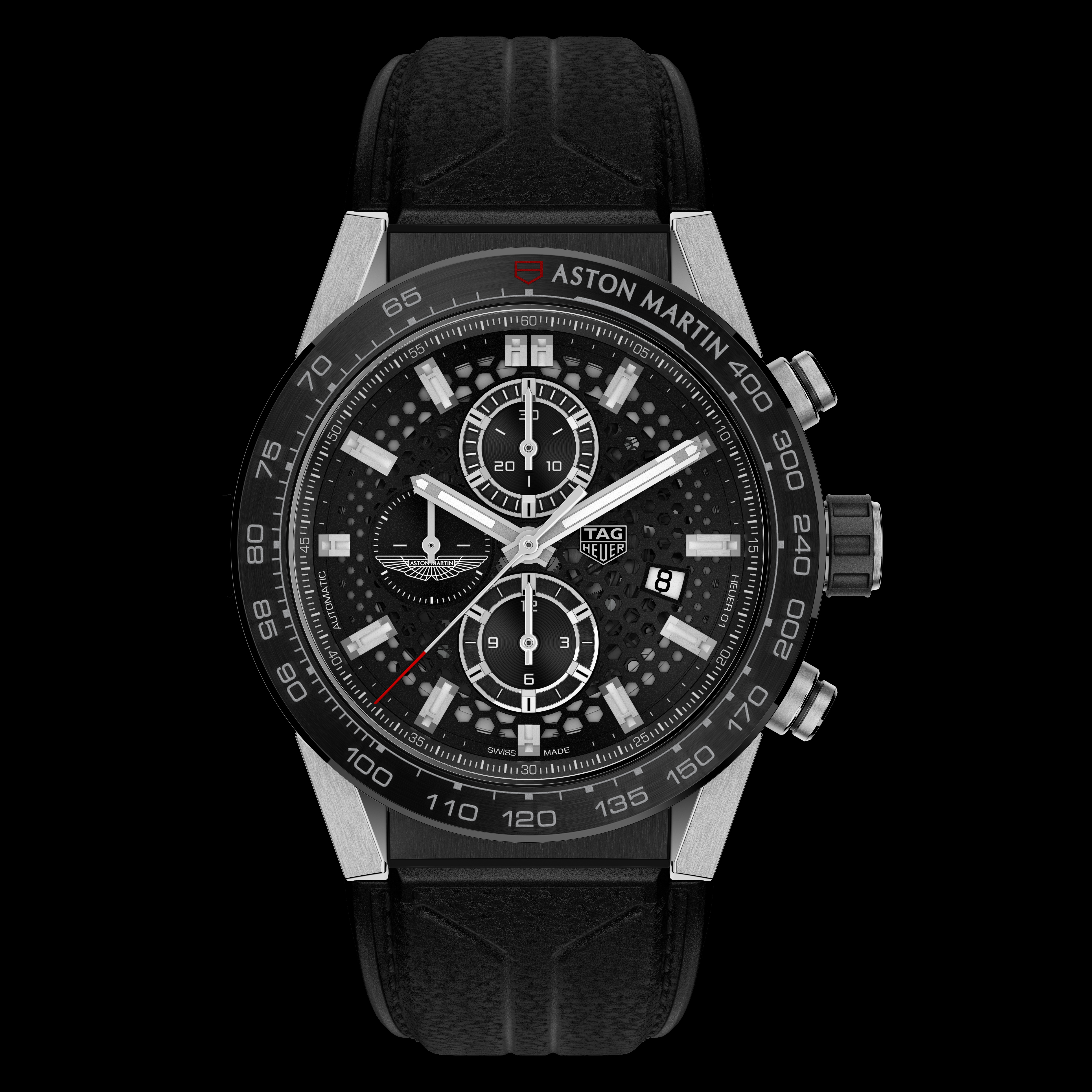 TAG Heuer Carrera Heuer 01 Aston Martin watch has design details reflective of sports cars.