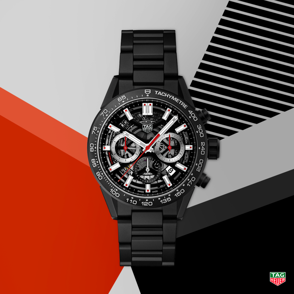 Black PVD version of the TAG Heuer Carrera Heuer 02 watch as seen at Baselworld 2018.