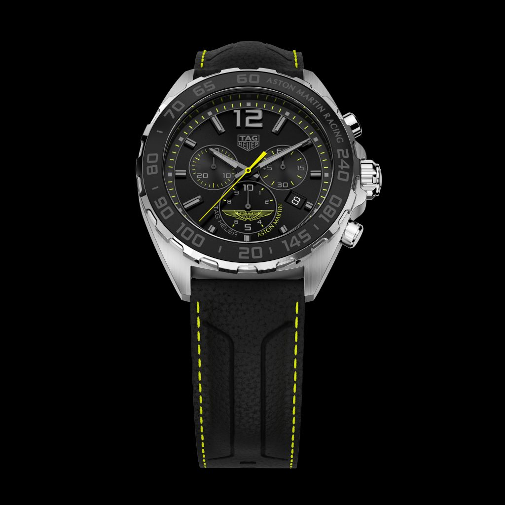TAG Heuer Formula 1 Aston Martin makes use of the lime green color of the Aston Martin Racing Team.