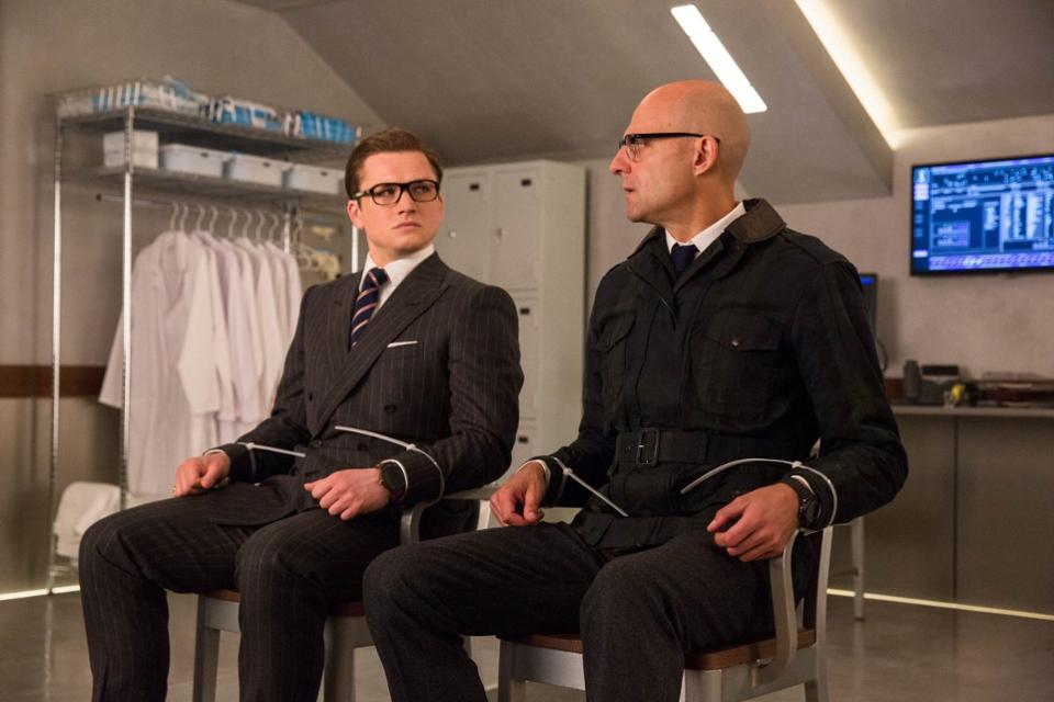 "Taron Egerton and Mark Strong as agents in ""Kinsman: The Golden Circle"""