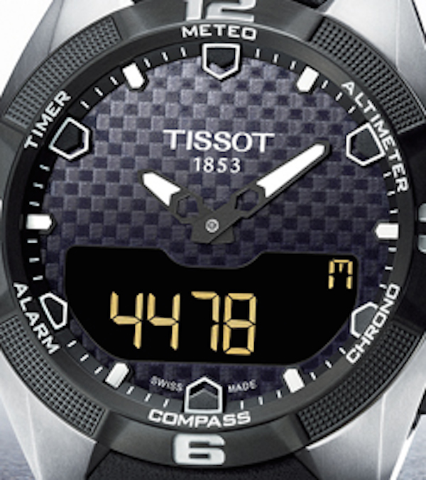 A touch of the crystal activates the watch's many functions.