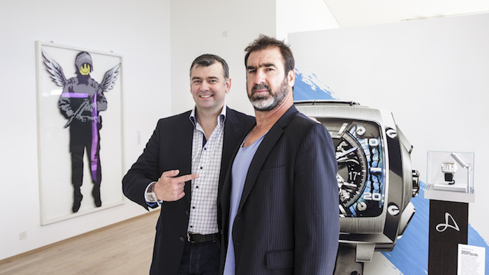 """Guillame Tetu and Eric Cantona at the """"Cross the Line"""" exhibition in Switzerland."""