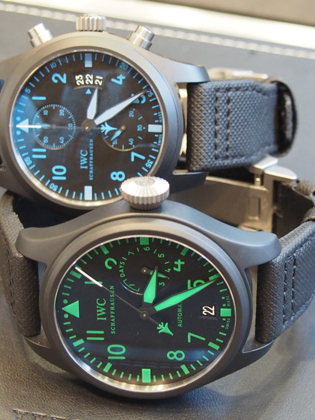 Two of the three Boutique Edition IWC Top Gun watches.