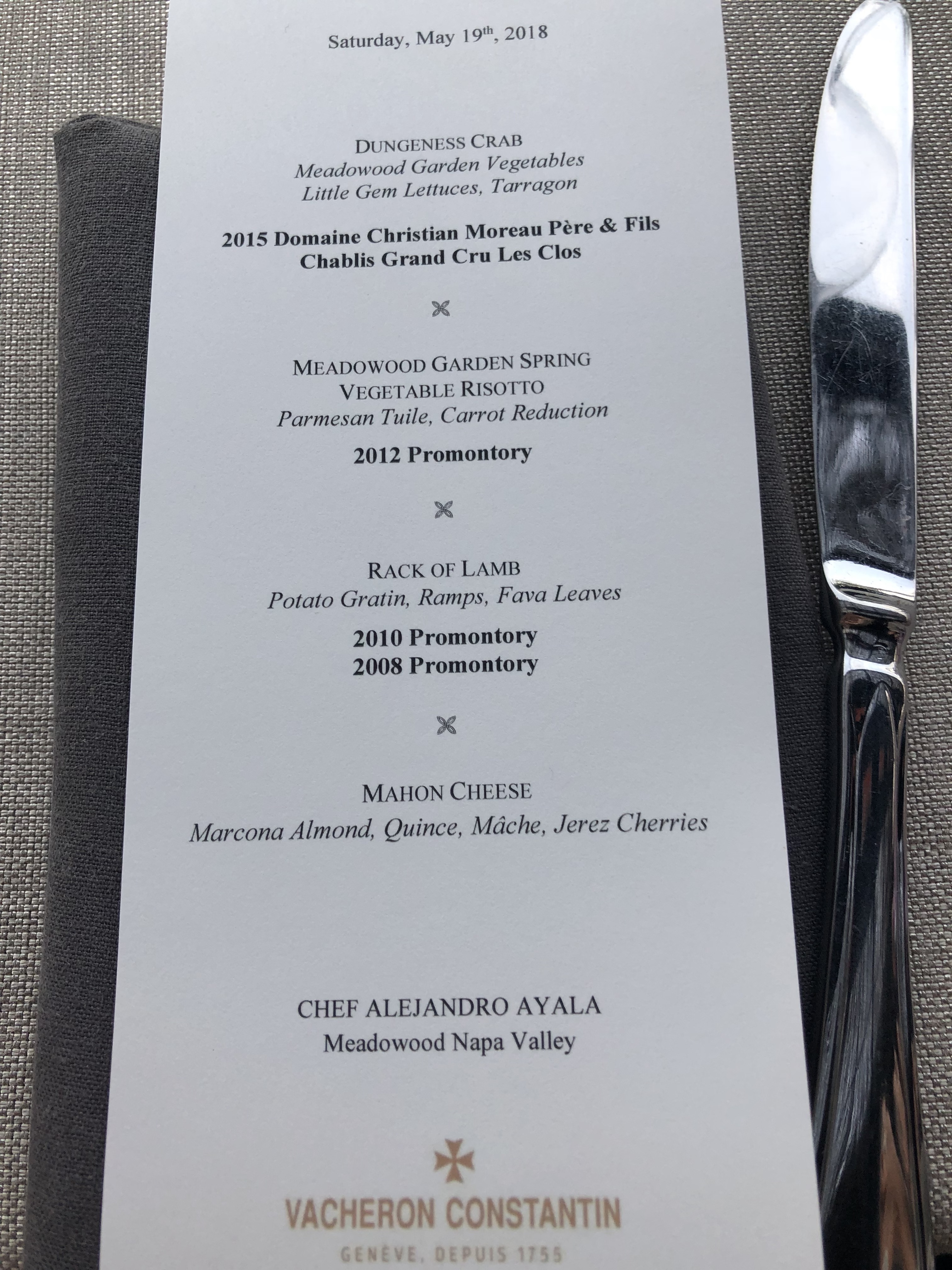The Vacheron Constantin and Promontory menu