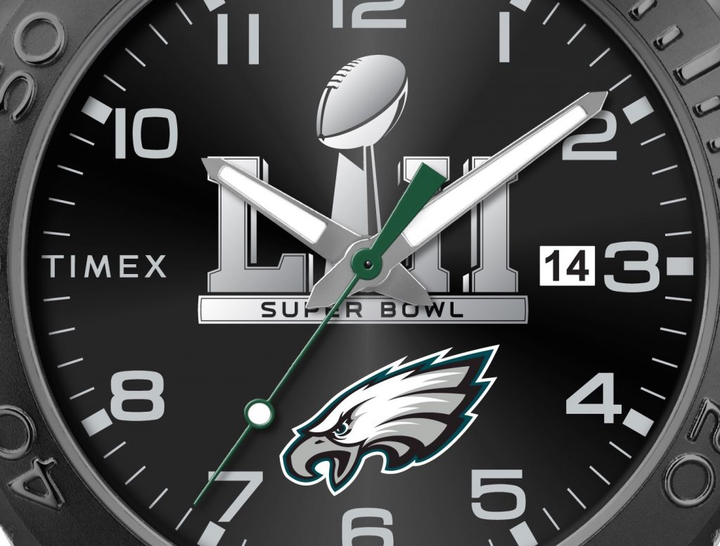 Timex Eagles Super Bowl watch with Super Bowl LII, Vince Lombardi Trophy image Eagles logo on the dial.
