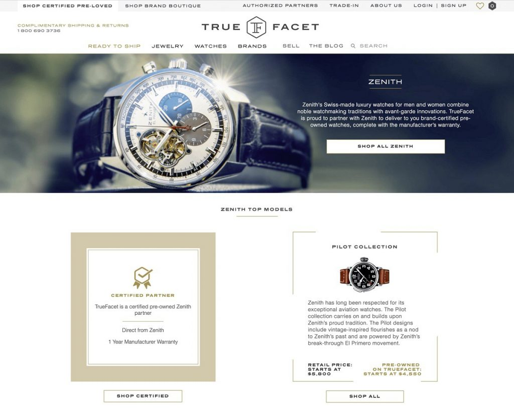 TrueFacet.com announces Brand Certified Pre-Owned division.