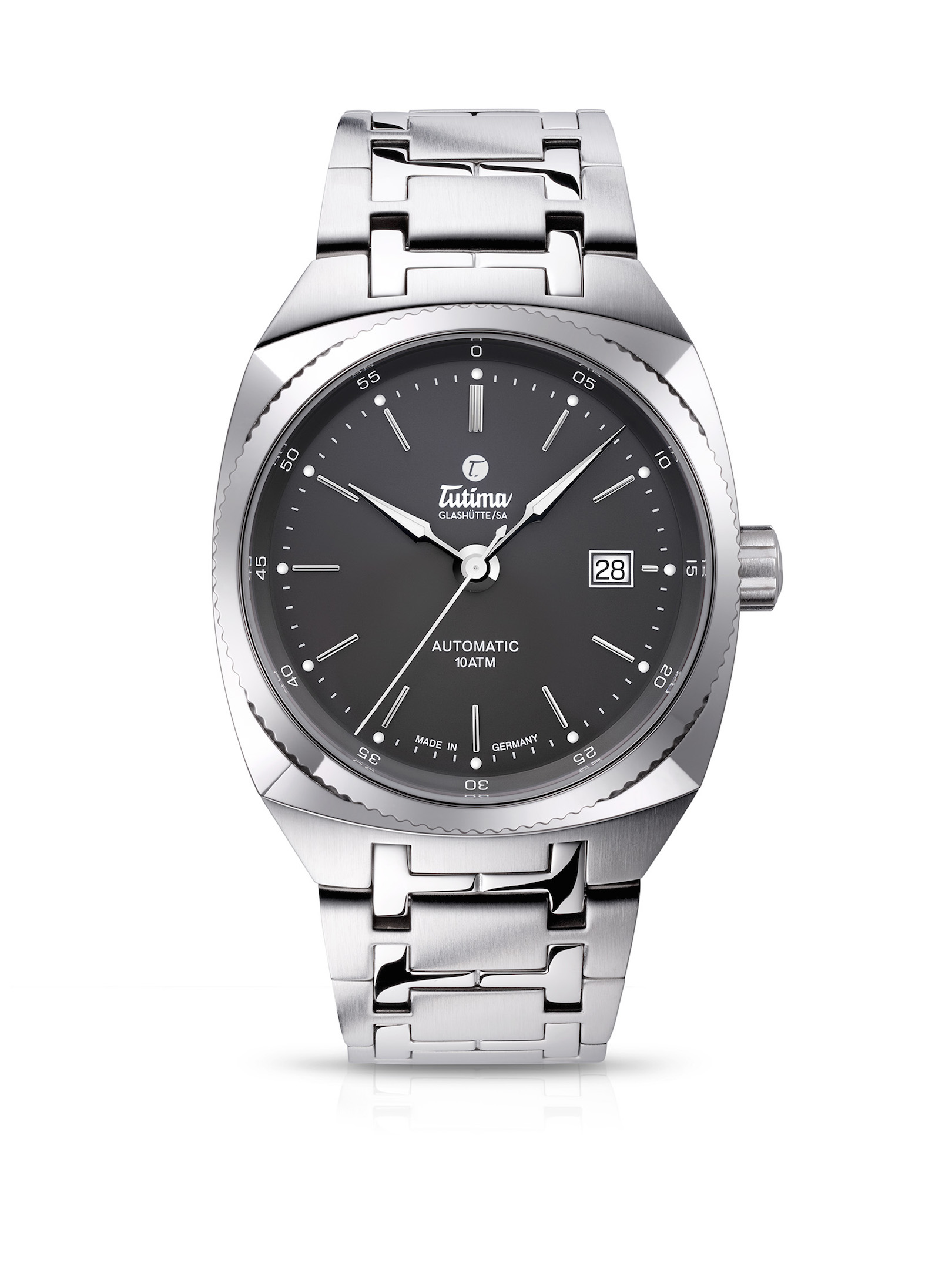 The Tutima Saxon One M in 40mm with slate gray dial is offered with an integrated strap or a steel bracelet.