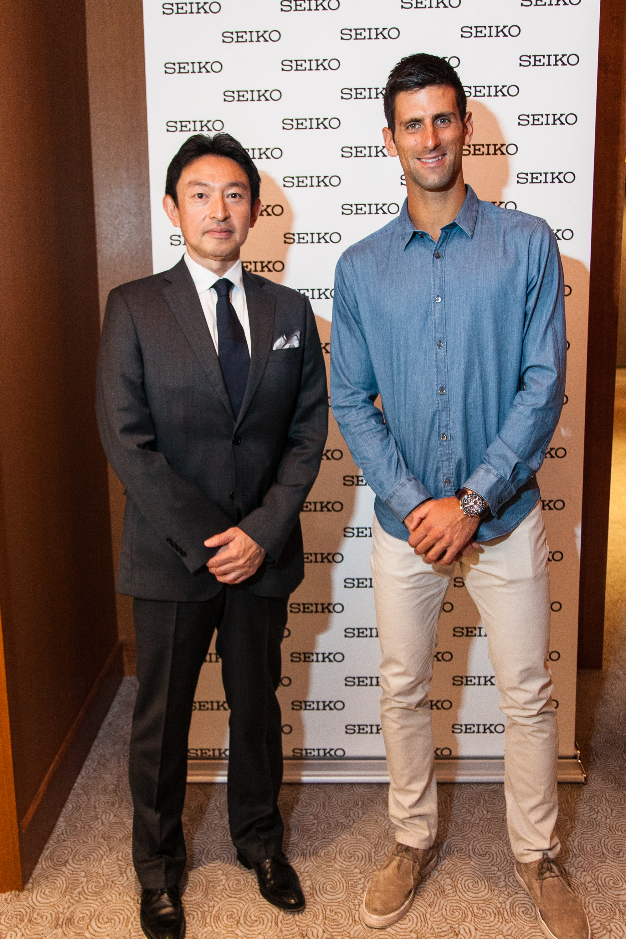 Novak Djokovic with Seiko President and CEO Mr. Yosh Kawada