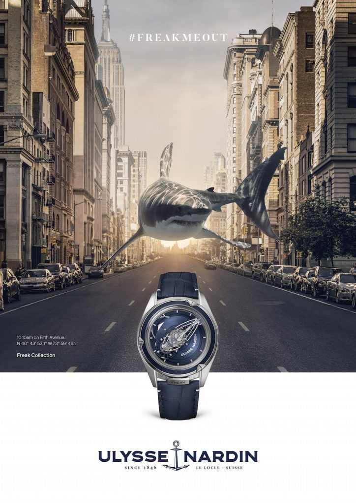 "Ulysse Nardin's new ""FrekMeOut campaign for the Freak Vision watch."