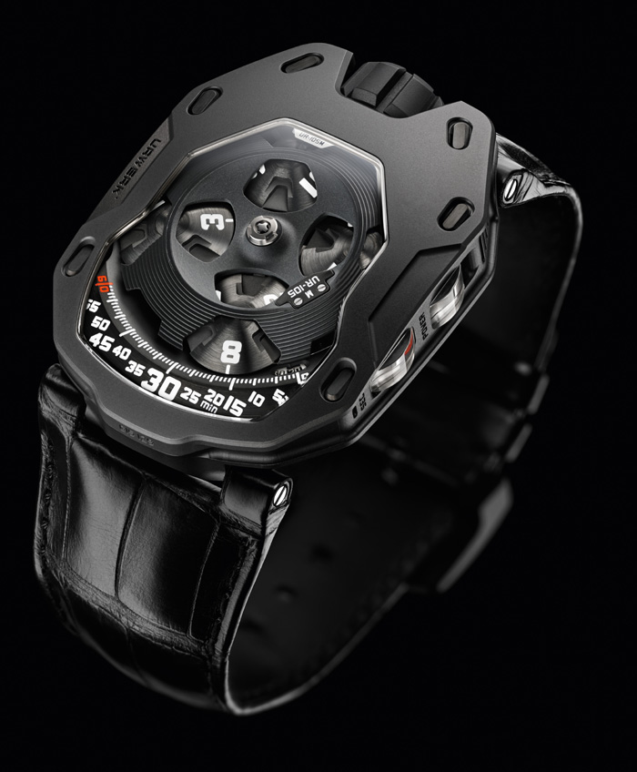 The new Urwerk UR-105 M Dark Knight is crafted in titanium case and AITiN-treated steel bezel.