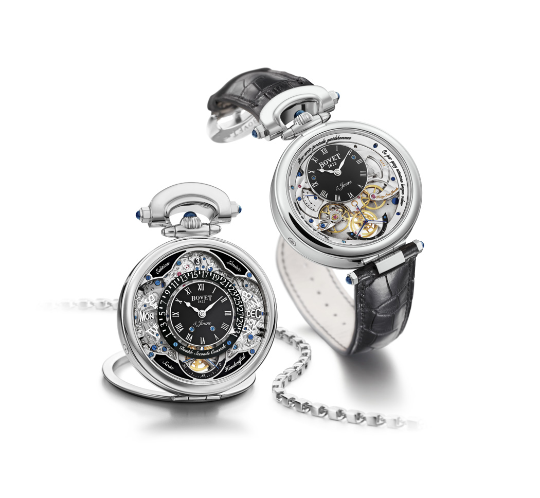 The Virtuoso VII is in a convertible case and can be worn as wristwatch, pocket watch or table clock.