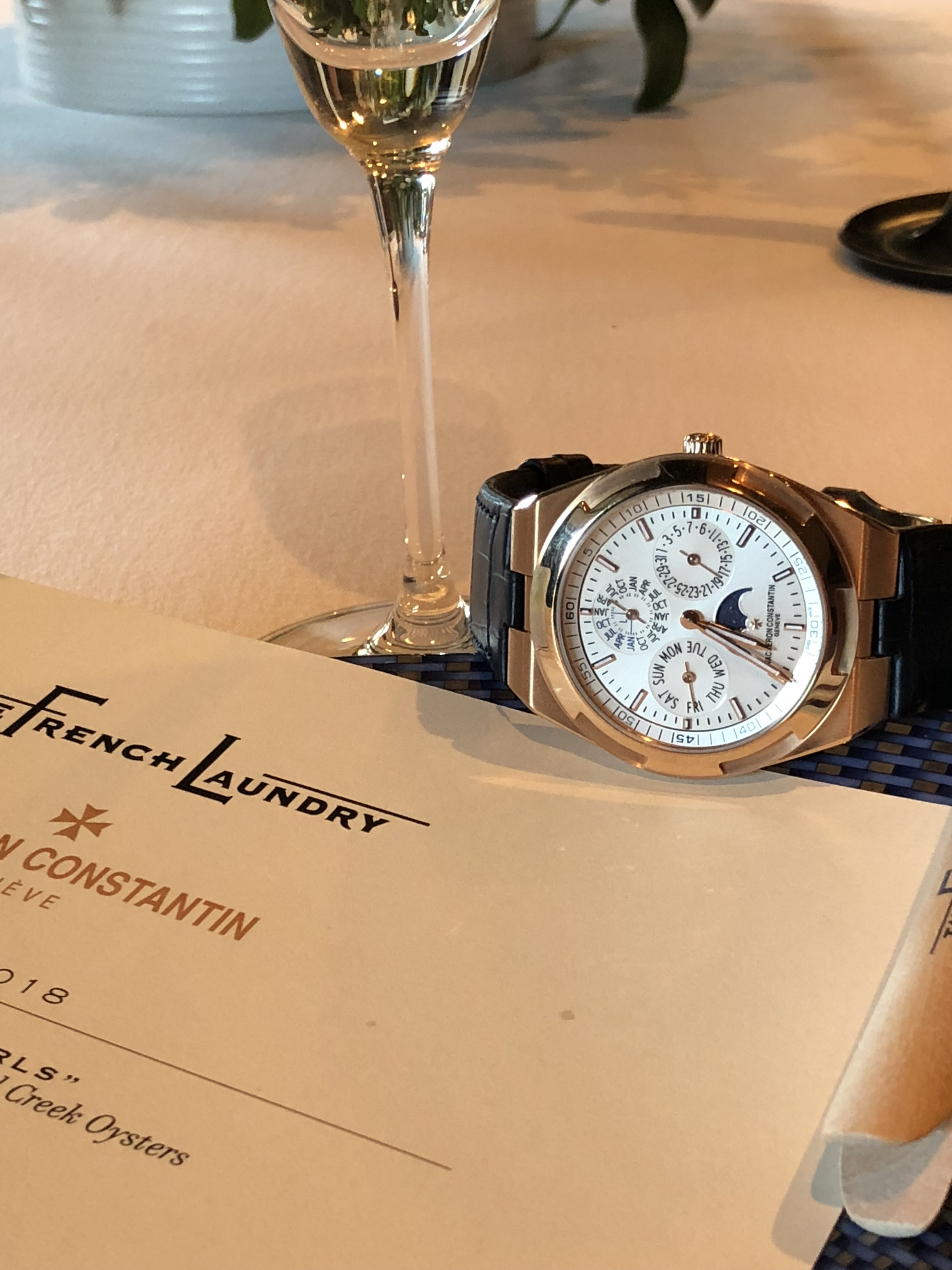 Vacheron Constantin Overseas Ultra-Thin Perpetual Calendar watch ... at The French Laundry in Napa.