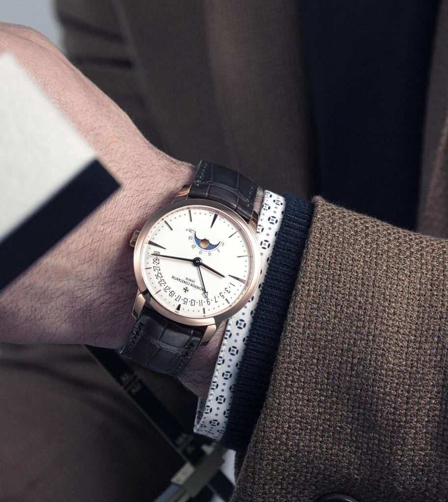 Vacheron Constantin's Patrimony Moonphase Retrograde Date watch brings astronomy subtly to the wrist.
