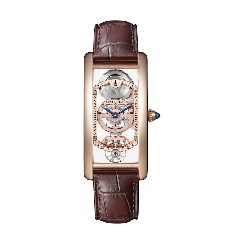 The new Cartier Tank Cintree Skeleton watch Tank Cintrée squelette, in rose gold with mechanical movement with manual winding - 9917 MC. Limited edition of pieces.