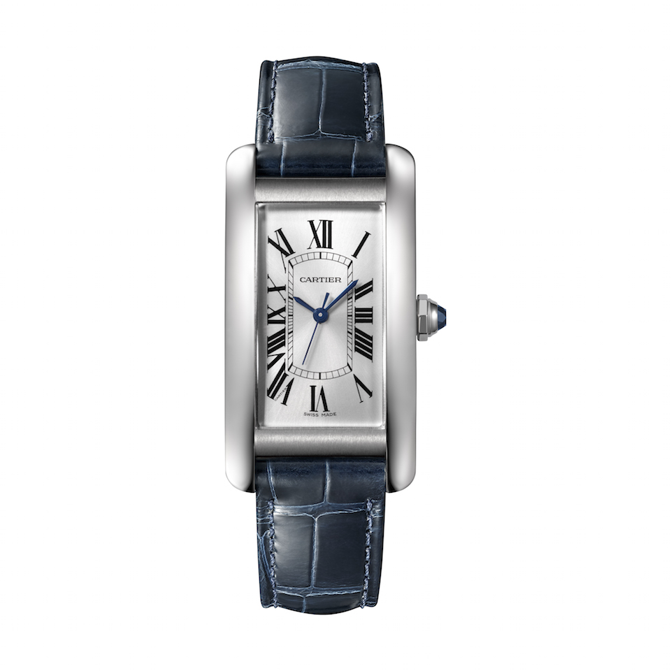 This year marks the first offering of the Cartier Tank Américaine in steel with a unique blue strap.