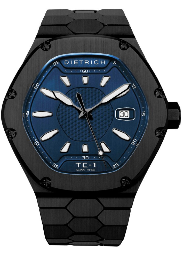 Dietrich Time Companion in black PVD steel with blue dial.