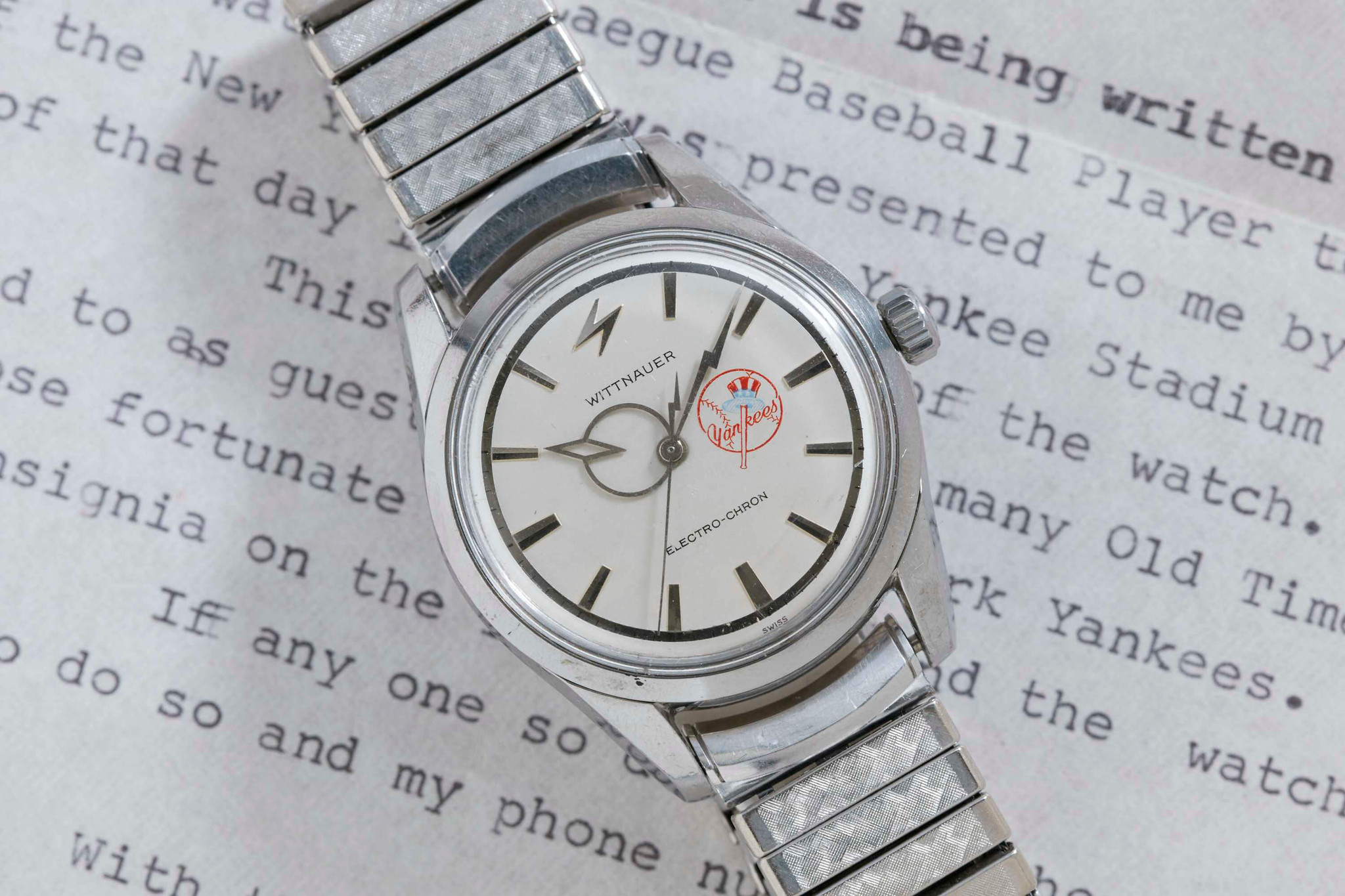 """Wittnauer Electro-Chron Watch once belonging to """"Rowdy"""" Bartell, MLB shortstop, sells for $10,000 on Analog/Shift auction."""