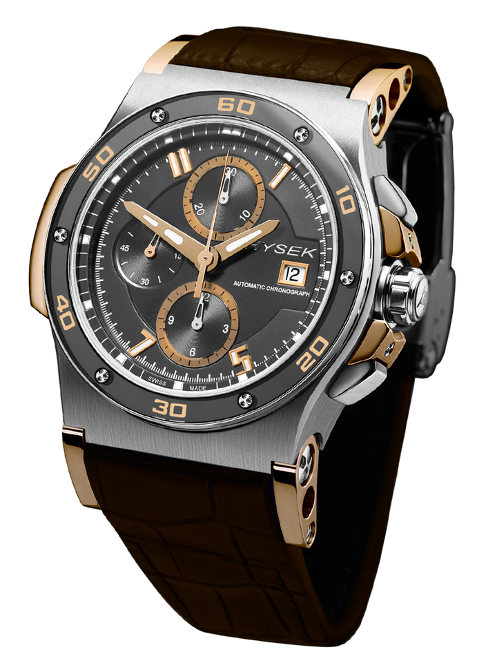 The Abyss features a vertical three-register chronograph