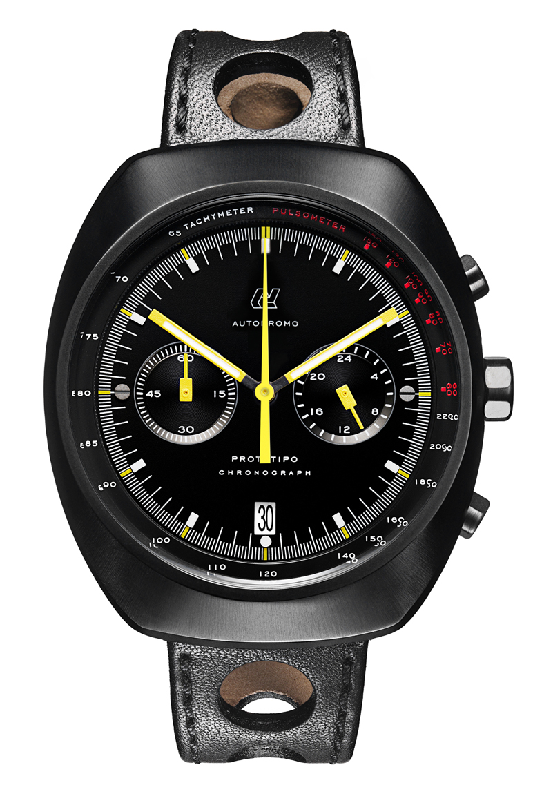 Autodromo Prototipo Nero Chronograph with black dial and plated steel case and bold yellow hands.